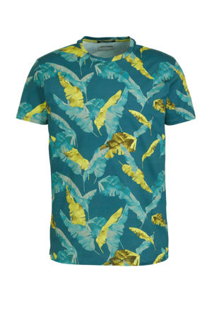 T-shirt met bladprint petrol