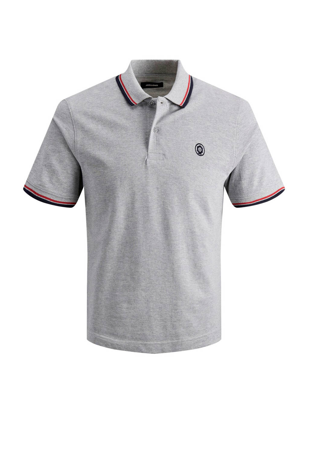 JACK & JONES ESSENTIALS slim fit polo met logo grijs, Grijs