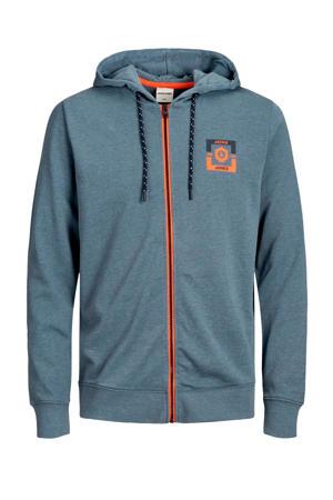 vest met logo grijsblauw