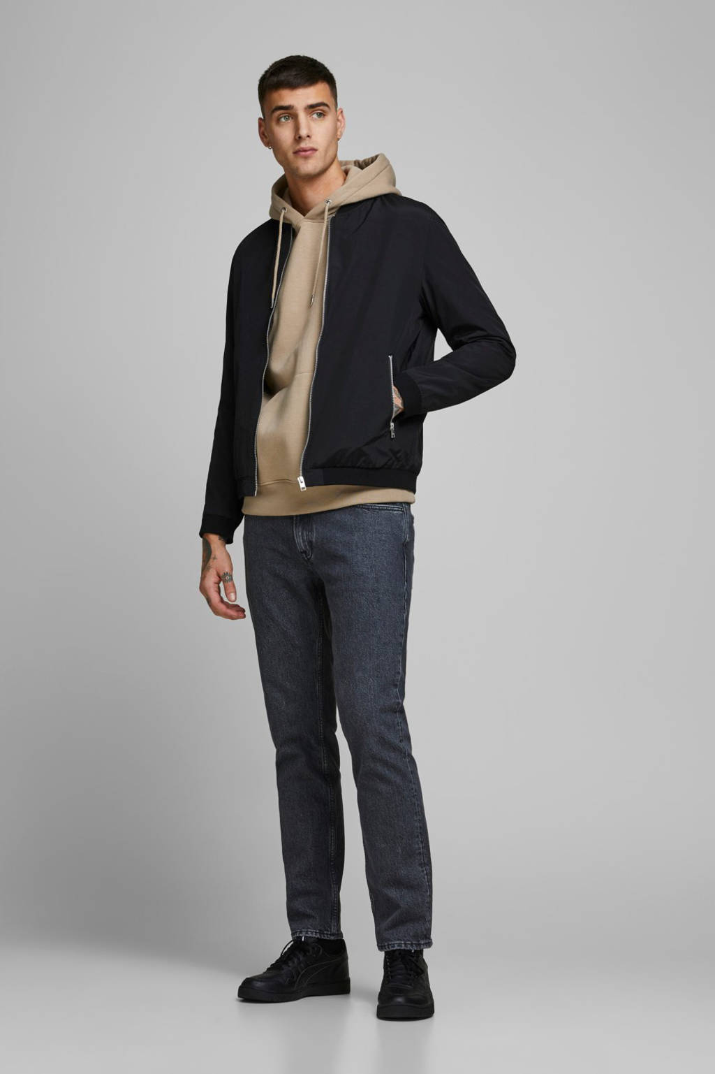 JACK & JONES ESSENTIALS bomberjack zwart, Zwart