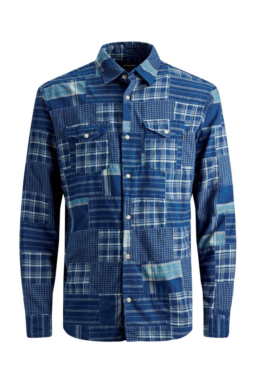 JACK & JONES PREMIUM geruit regular fit overhemd blauw, Blauw