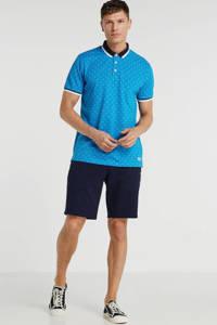 PRODUKT regular fit polo met all over print blauw, Blauw