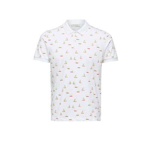 SELECTED HOMME regular fit polo met all over print
