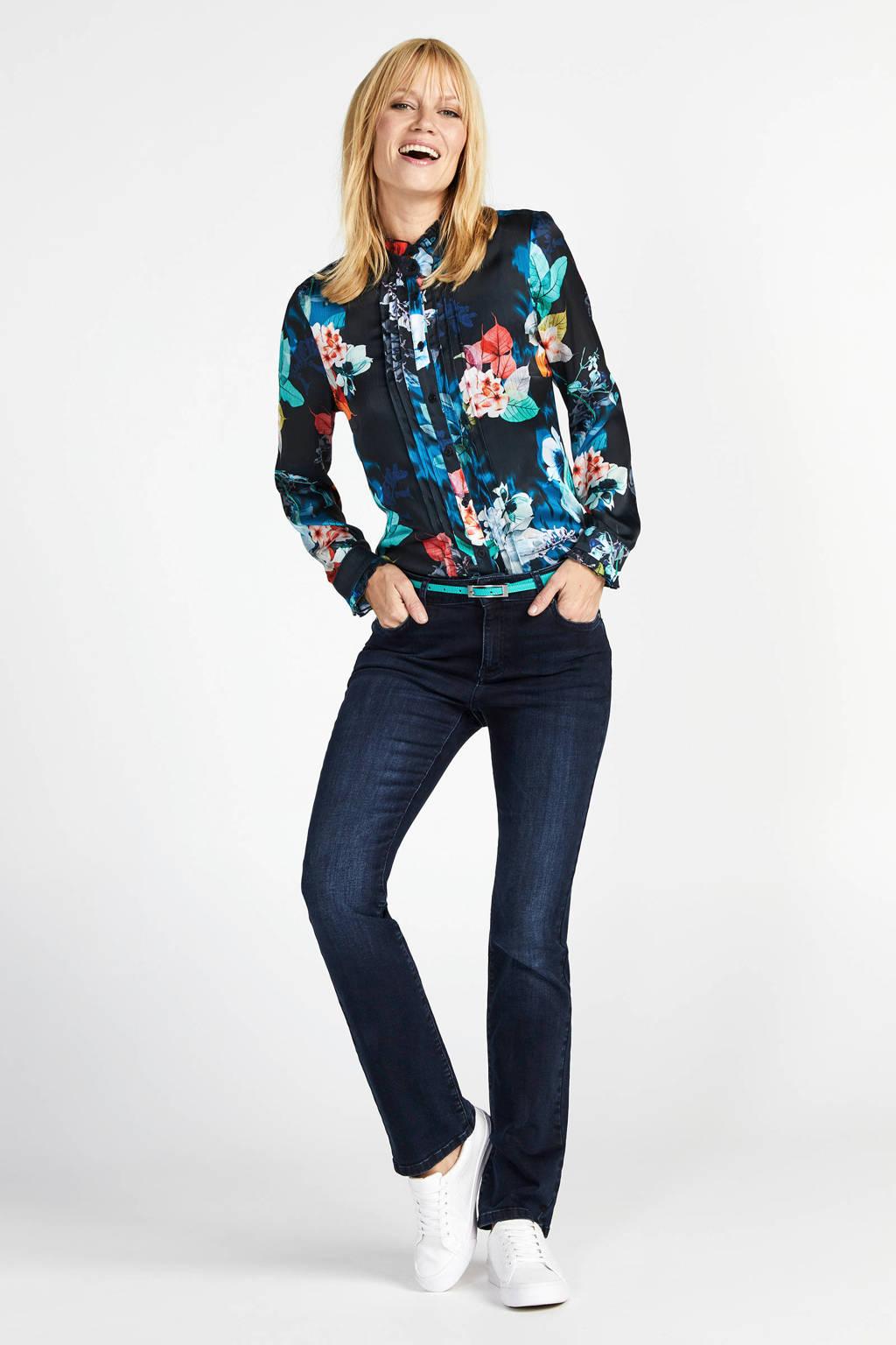 Steps blouse met all over print en ruches zwart/multi, Zwart/multi