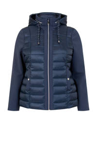Miss Etam Plus gewatteerde jas blauw, Blauw