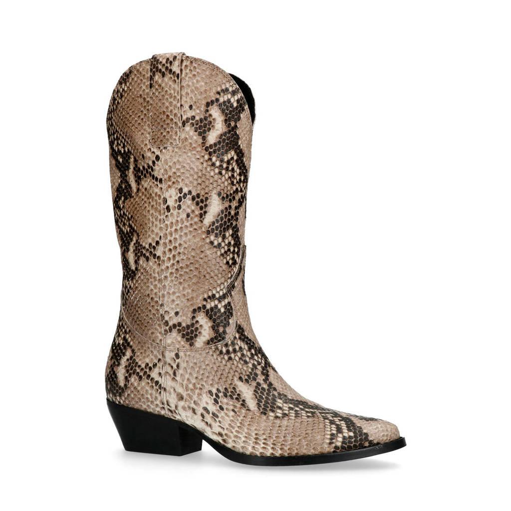 Sacha   cowboylaarzen slangenprint, Bruin/beige
