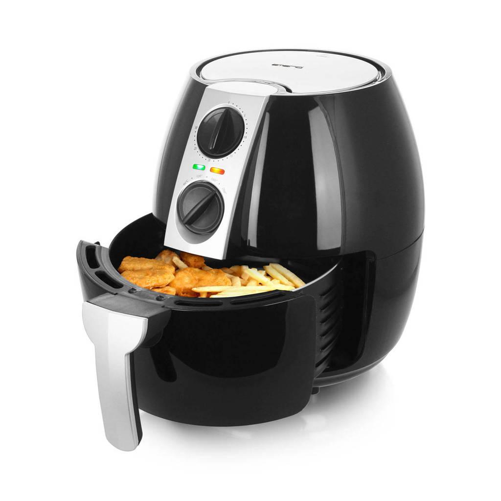 Emerio AF-116073 hetelucht friteuse, Zwart, zilver
