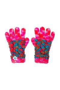 Desigual handschoenen met all over print roze, Roze / rood / groen