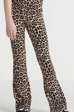 high waist flared broek Becky met panterprint camel/zwart/bruin