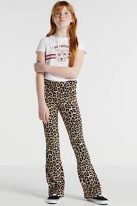 LMTD high waist flared broek Becky met panterprint camel/zwart/bruin, Camel/zwart/bruin