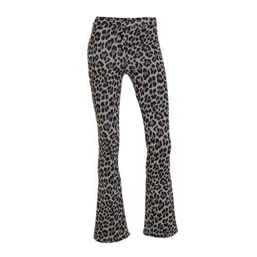 LMTD high waist flared broek Becky met panterprint