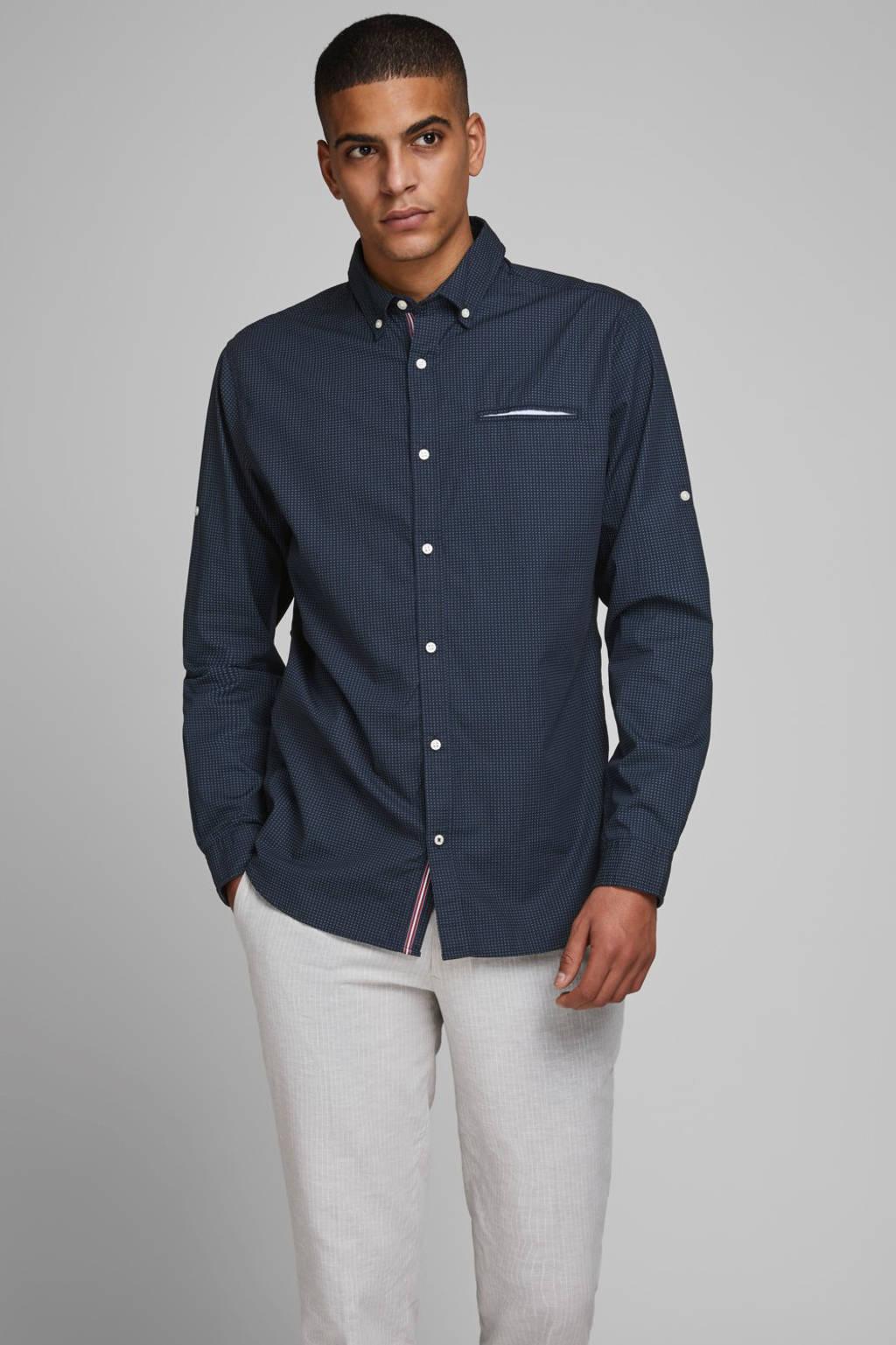 JACK & JONES ESSENTIALS slim fit overhemd met all over print marine, Marine