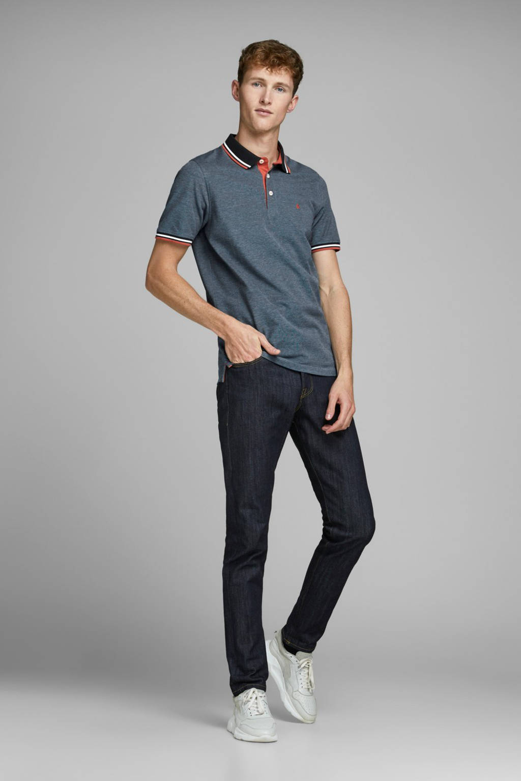 JACK & JONES ESSENTIALS slim fit polo blauw, Blauw
