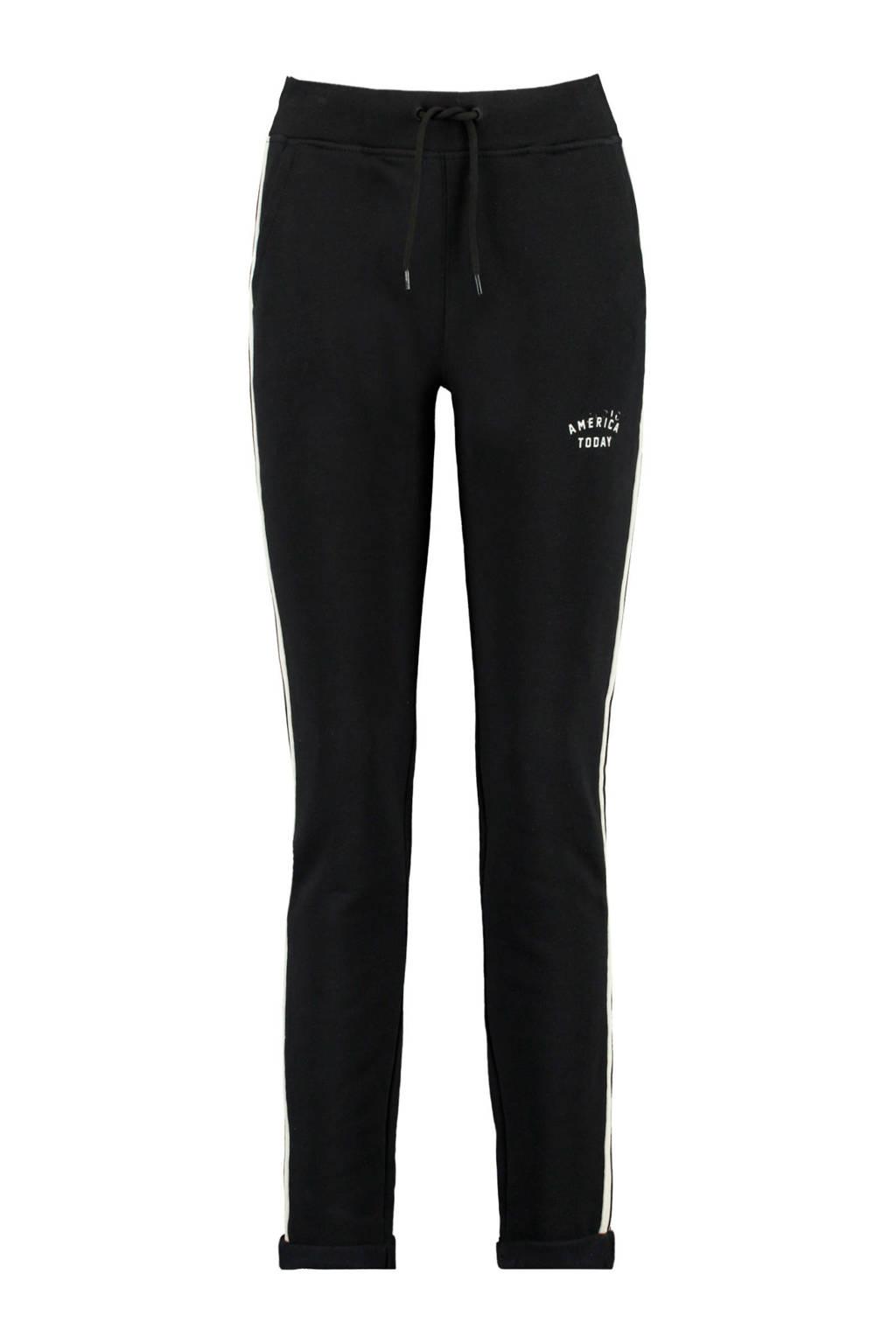 America Today slim fit joggingbroek met zijstreep zwart, Zwart