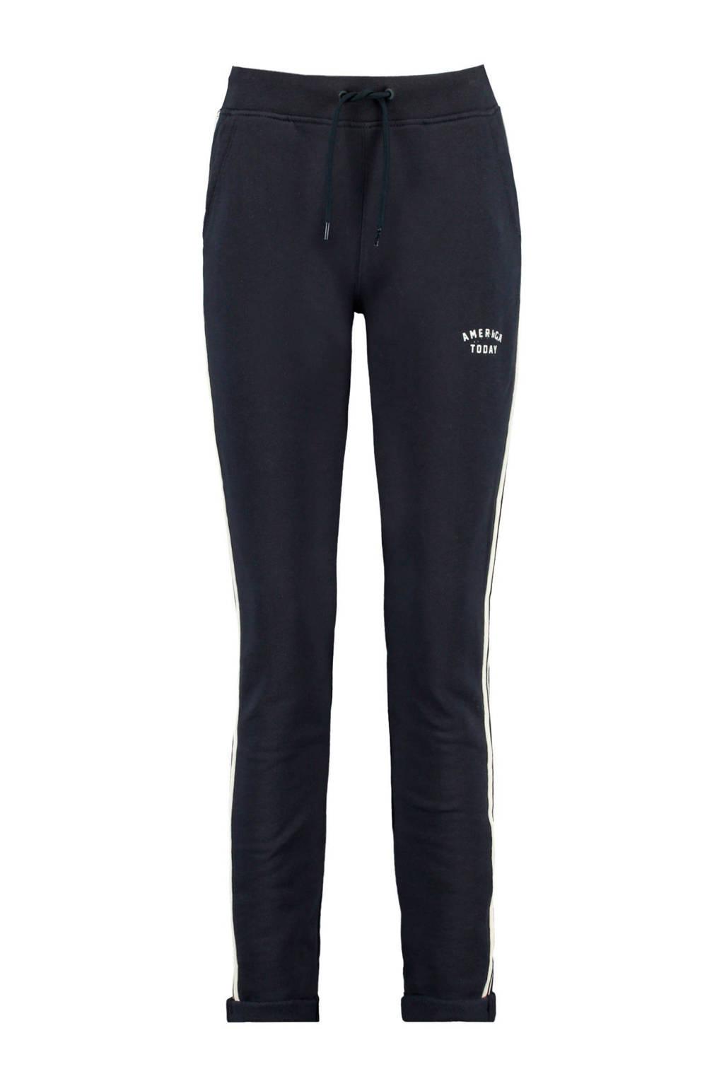 America Today slim fit joggingbroek met zijstreep donkerblauw, Donkerblauw