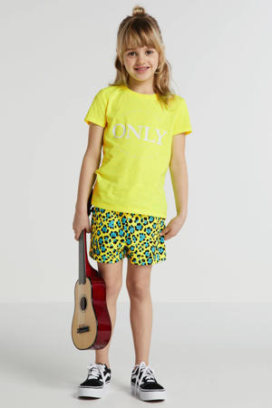 short Nellie met panterprint neon geel/blauw/zwart