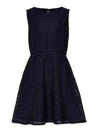 KIDS ONLY kanten jurk Line met plooien zwart/donkerblauw, Zwart/donkerblauw