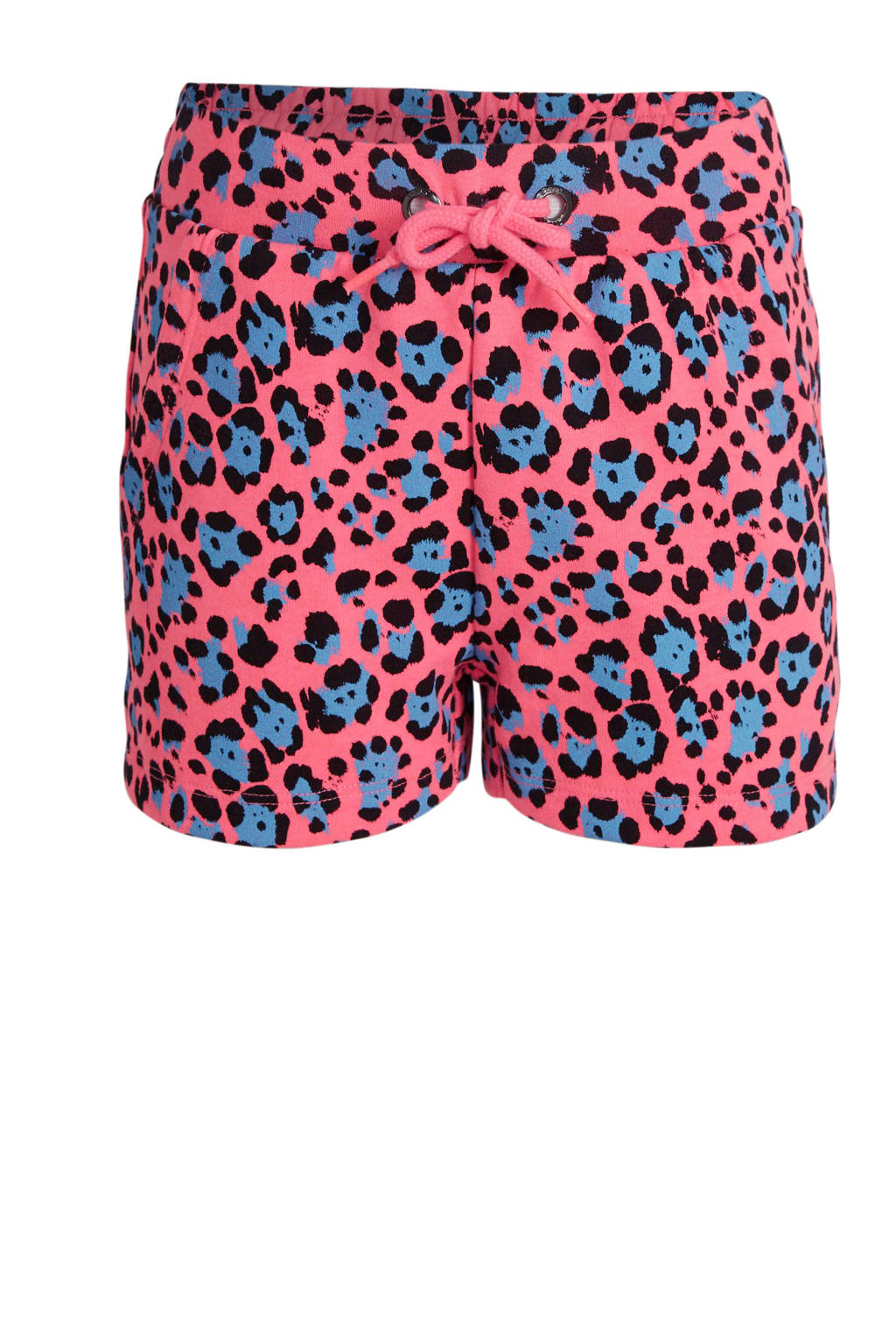 KIDS ONLY short Nellie met panterprint neon roze/blauw/zwart, Neon roze/blauw/zwart