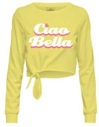 KIDS ONLY sweater Siris met tekst geel/wit/roze, Geel/wit/roze