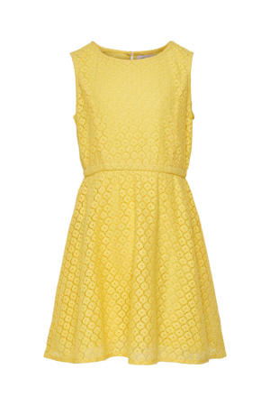 kanten jurk Line met plooien geel