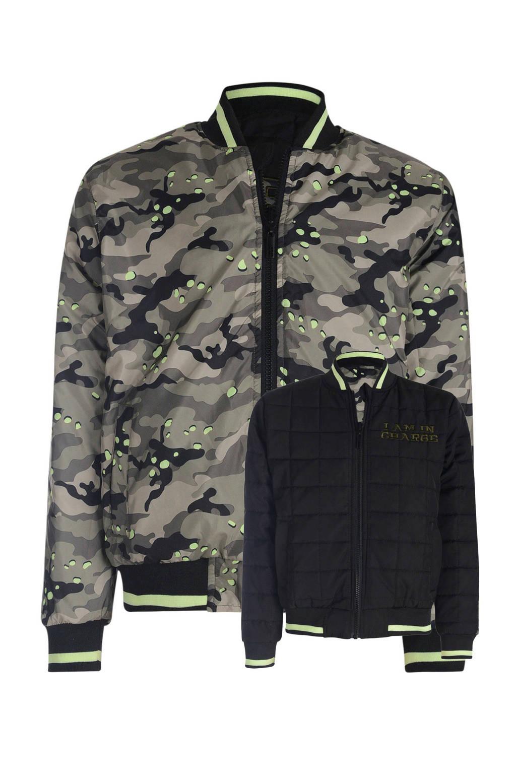 Mitch reversible zomerjas met camouflage print groen/zwart, Groen/zwart