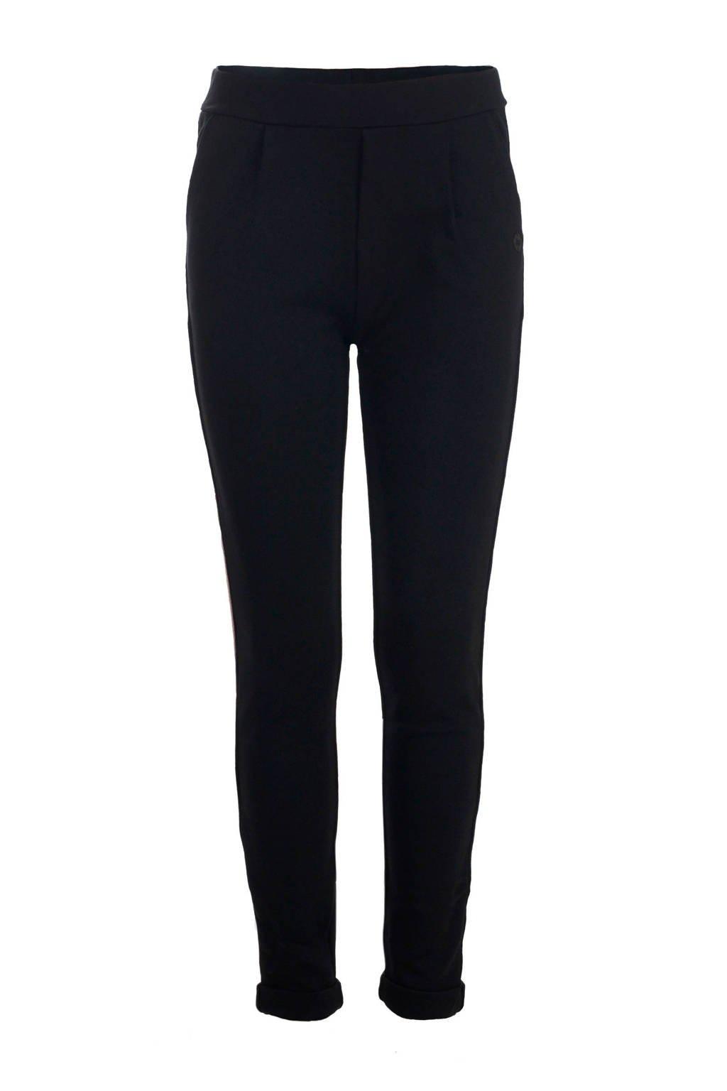 Jill skinny broek Stripe met zijstreep zwart/goud/koper, Zwart/goud/koper