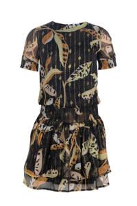 Jill & Mitch by Shoeby jurk Tara zwart/goud/lichtgeel, Zwart/goud/lichtgeel