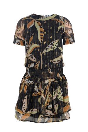 jurk Tara zwart/goud/lichtgeel