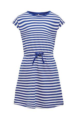 gestreepte A-lijn jurk May van biologisch katoen blauw/wit
