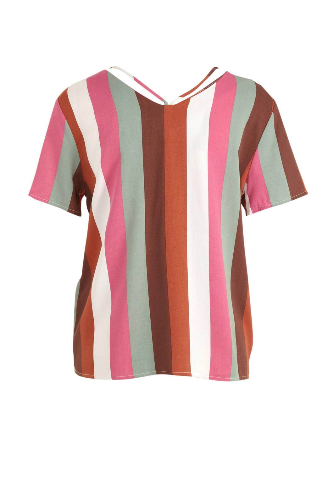 ONLY gestreepte top wit/roze/groen, Wit/roze/groen