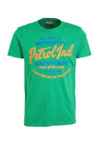 Petrol Industries T-shirt met printopdruk groen/rood/blauw, Groen/rood/blauw