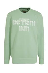 Petrol Industries sweater met tekst groen, Groen
