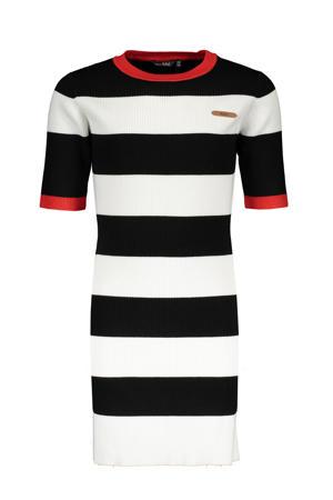 gestreepte T-shirtjurk May zwart/wit/rood