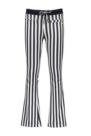 gestreepte low waist flared broek Sahara donkerblauw/wit
