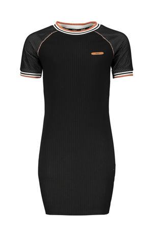 jersey jurk Maura met mesh zwart