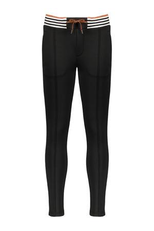 low waist slim fit broek SeclerB zwart/wit/brons