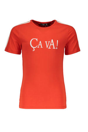T-shirt Kanoux met tekst rood/wit