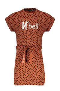 NoBell' jersey jurk Miky met all over print en ceintuur cognac/zwart, Cognac/zwart