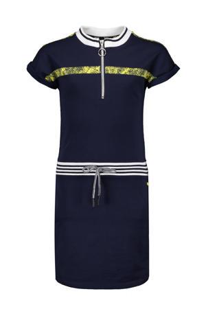 jersey jurk Mikela donkerblauw/geel/wit