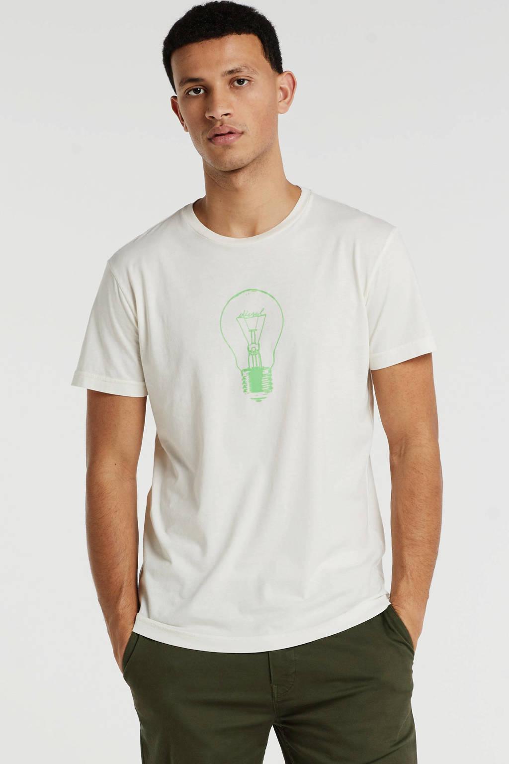 Diesel T-shirt met printopdruk beige, Beige
