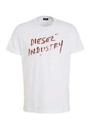 T-shirt met logo wit/bruin
