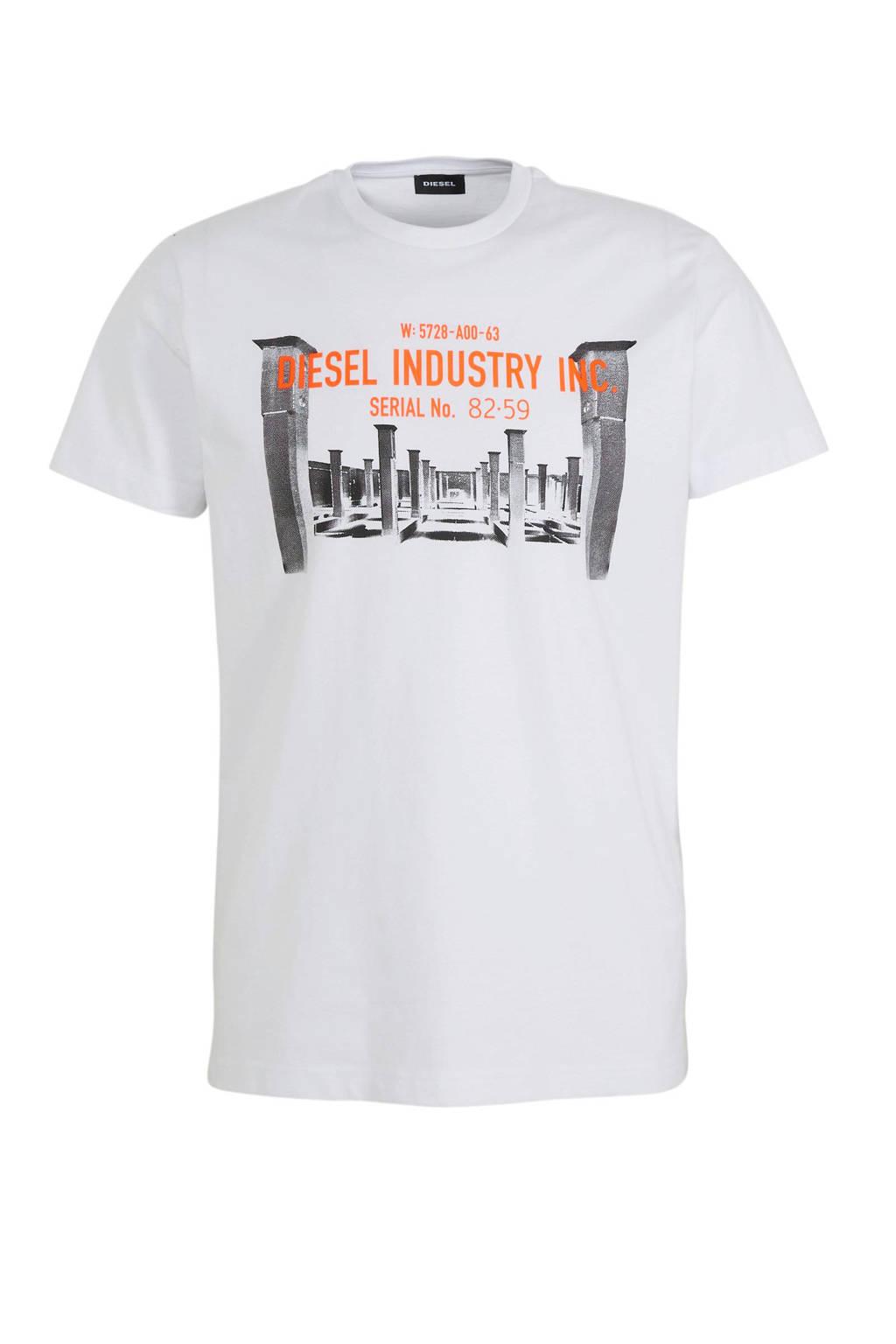 Diesel T-shirt met printopdruk wit, Wit