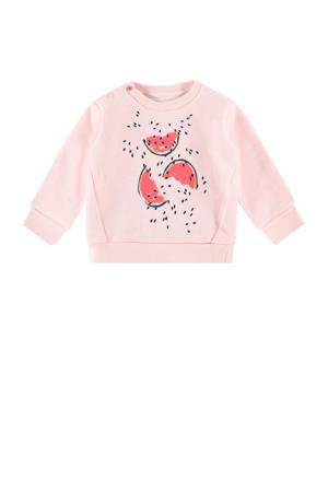 baby sweater Akasia met biologisch katoen lichtroze/zwart/oudroze