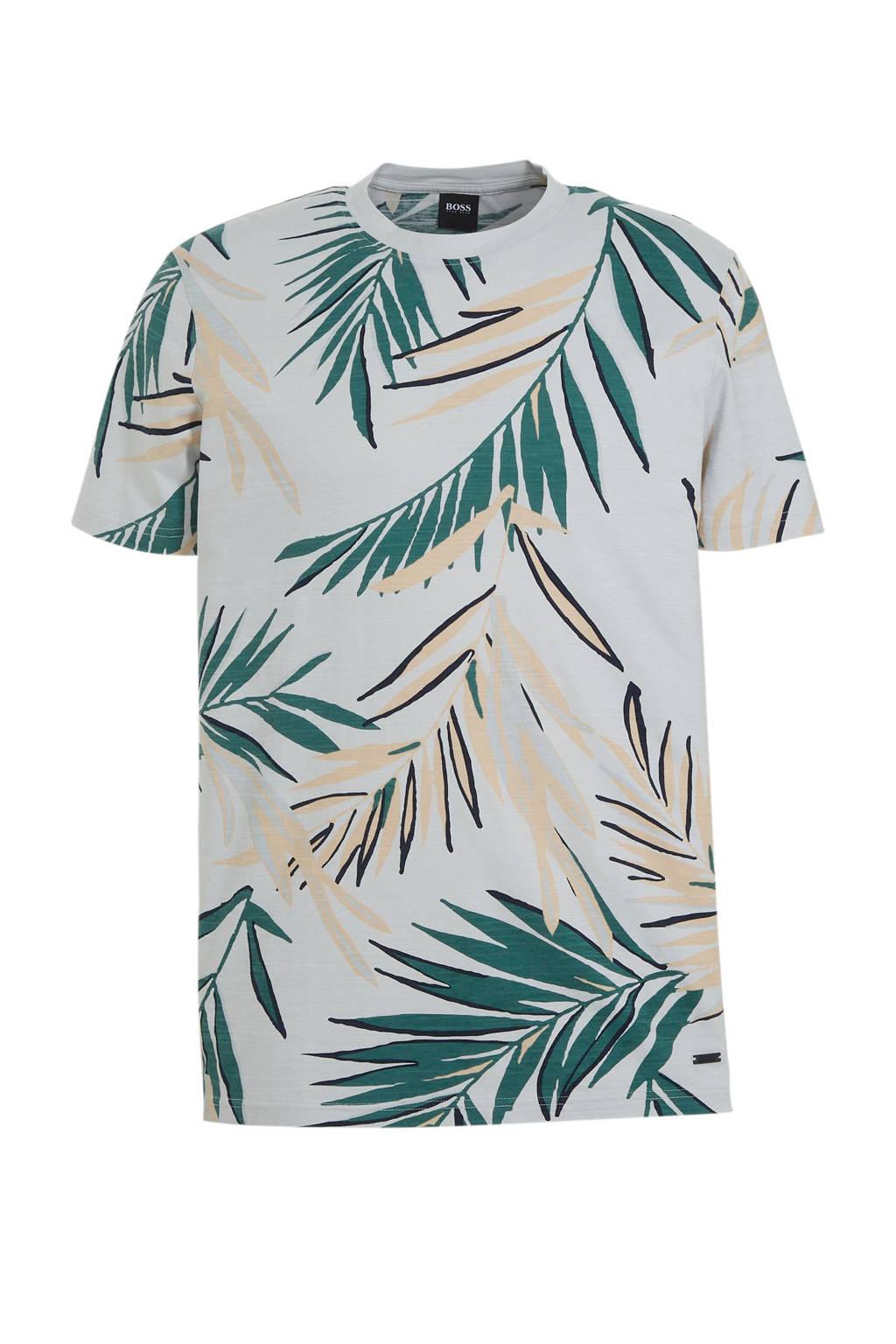 BOSS Casual T-shirt met bladprint grijs, Grijs