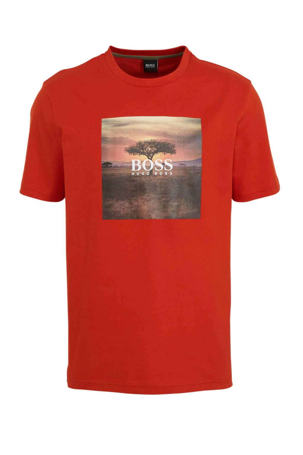 BOSS Casual T-shirt met printopdruk rood, Rood