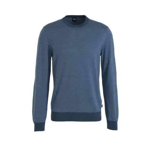 BOSS Menswear gem??leerde trui grijsblauw