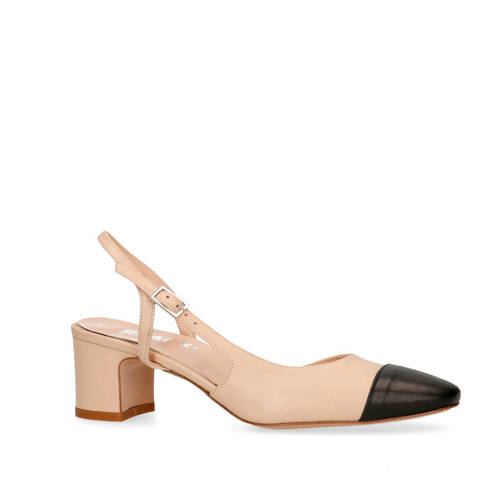 Manfield Black Label nubuck pumps beige/zwart