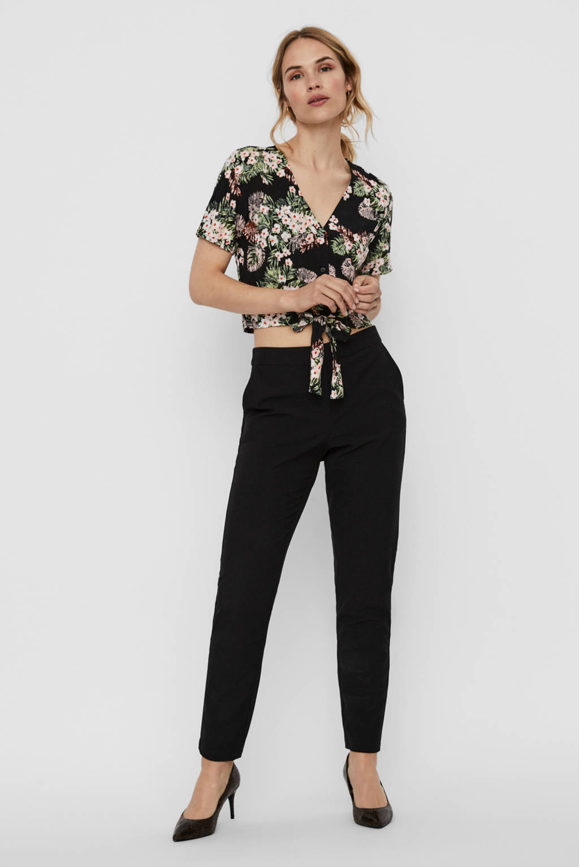 VERO MODA gebloemde cropped blouse zwart/multi, Zwart/roze/groen