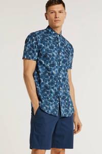 PME Legend slim fit overhemd met all over print blauw, Blauw