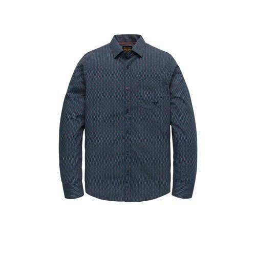 PME Legend slim fit overhemd donkerblauw